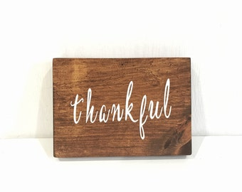 Wooden Rustic Thankful Sign