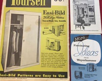 Vintage Mid Century Furniture Patterns - Easi-Bild, Douglas Fir, Weyerhaeuser - Furniture Making, Carpentry, Woodworking Patterns 1950s