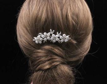 Bridal Wedding Pearl Flower Crystal Imitated Hair Comb
