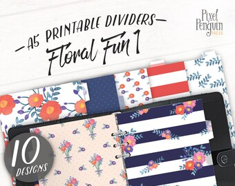 A5 Planner Dashboard Printable, Floral Dashboard, Monthly Tabs For Planner, A5 Printable Planner Divider, A5 Filofax Divider, Kikki K Dash