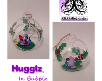 Christmas Glass bauble - polymer clay - gift for the home