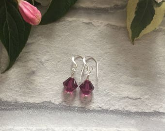 Purple Swarovski Crystal Sterling Silver Earrings