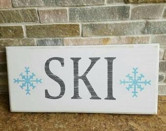 "Handmade ""Ski"" Distressed Wood Wall Art Sign"