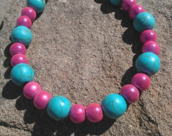 Pink and turquoise beaded bracelet/anklet