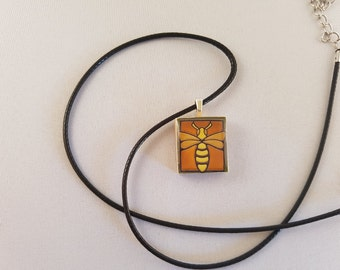 Bee Scrabble Tile resin pendant