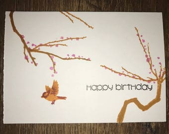 Birthday Card - Blossom Happy Birthday Card - Handmade Stamped Greeting Card