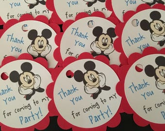 12 Disney Inspired Mickey Mouse Party Thank You Tags