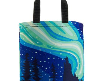 Reuseable Lunch Bag - Mini Tote - Recycled Materials - Washable - Eco-Friendly - Northern Lights - Aurora Borealis