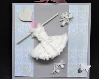 Handmade Hand knitted Ballerina Collection Unique Design 3D Art Hanging framed Picture  - Ideal gift can be Personalised with name / message
