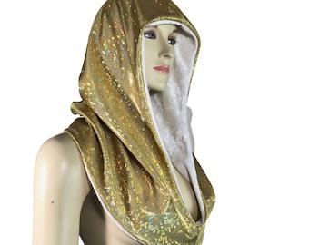 Reversible Gold Shattered Glass & White Crushed Velvet Holographic Rave Hood - Festival Hood - Hologram - Spirit Hood