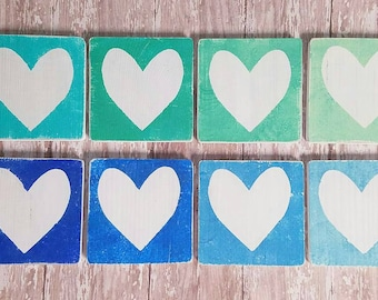 Ombre distressed hearts signs