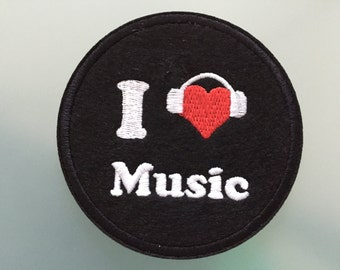 """I LOVE MUSIC PATCH - Embroideed Iron On Patch - 3"""""""