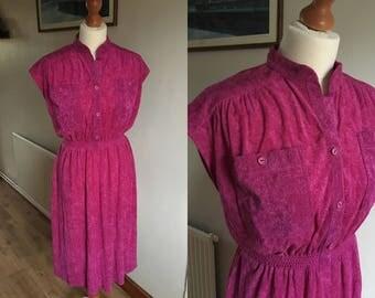 Pink Dress - Vintage 1960s 1970s - hot pink - 'C&A' - Oversized pockets, short sleeve