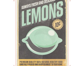 Vintage Food Poster | Digital Print | Lemon | Always Fresh and Delicious | Premium | Carefully Packed and Shipped Direct To Your Home