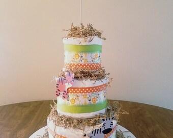 Safari Themed Diaper Cake