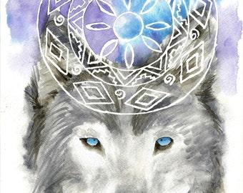 Wolf Mandala Print A4