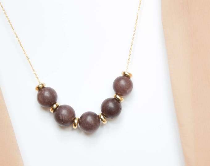 Brown Moonstone and Brass Necklace