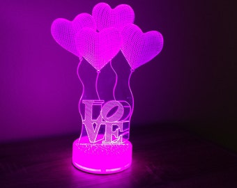 Love Romantic Proposal 3D Night Lamp, 3D Night Light Children Light Home Decor Illusion light
