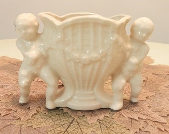Vintage Cherubs Vase and Candle Holder
