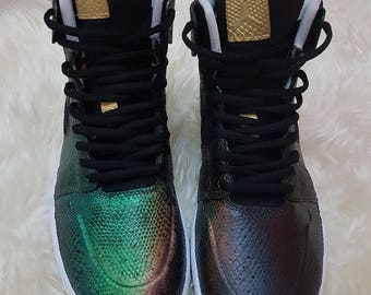 Nike Jordan 1's in black with colour changing snake skin (see youtube video)