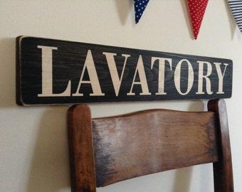 Lavatory Sign Vintage Old Look Toilet Handmade