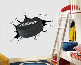 Vinyl Wall stickers Decor Ice Hockey Puck NHL Impact Kids Bedroom Sport 3D Crack