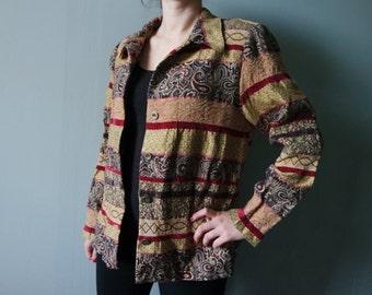 Vintage Indie Jacket Boho style Blazer Ornamented Jacket Long sleeves, gold, red, green