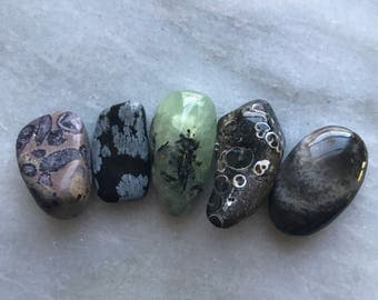collection of pocket stones // charoite, snowflake obsidian, prehnite, dark ocean jasper, sunstone iolite