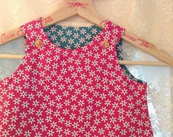 Pink daisy dress blue daisy dress childs reversible daisy dress toddler daisy dress reversible pinafore child dress cerise pink dress