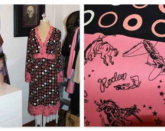 Pink and Brown Whimsical Rodeo print  dress.