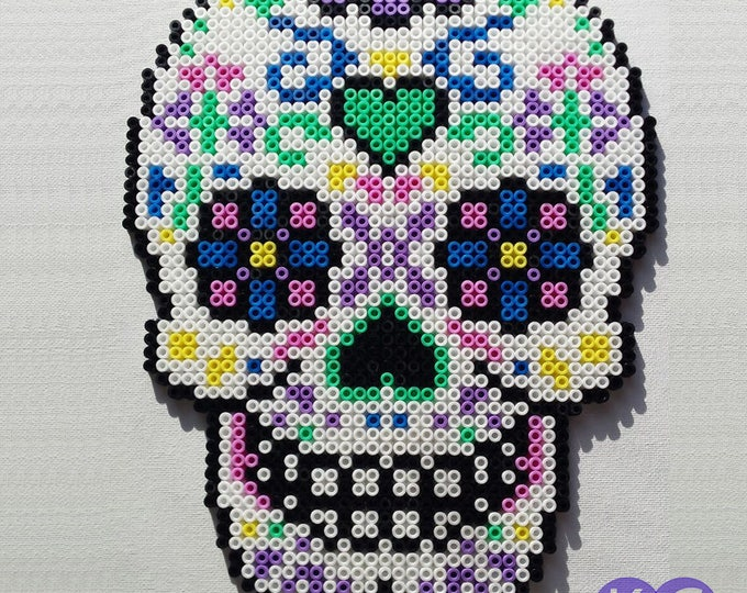 Sugar Skull, Bead Art, Sugar Skull Beads, Perler Beads, Hama, Beads, Canvas art, Beads Skull, Coloured Skull, Hama Beads, Sugar Bead