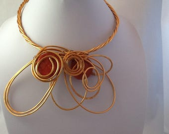 Copper wire necklace.Unique and Funky.Bold and Chunky.Wearable art.Modern and Abstracr.