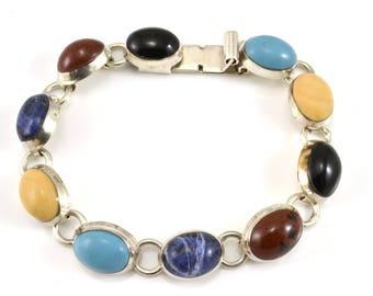 Multi Stone Bracelet, Taxco, Sterling Bracelet, Vintage Bracelet