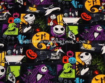 nc004 - 1 Yard SDLP Cotton Woven Fabric - Cartoon Characters, The Nightmare Before Christmas, Jack and Sally - Black (W140)