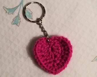 Crocheted Heart Keyring