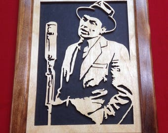 Frank Sinatra Wooden Portrait