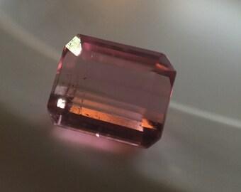 Pale pink rectangular cut tourmaline
