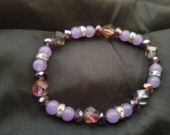 Lavender, purple beads and silver AB spacers and a dreamy 7 inch stretchy bracelet