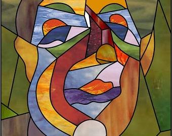Fat man.Artdeco stainedglass pattern