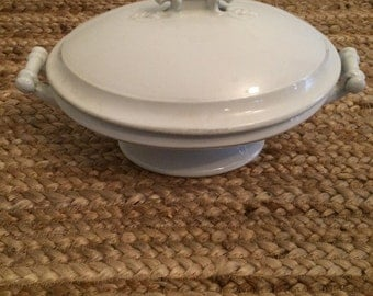 Antique White Ironstone Tureen | Vegetable Casserole Dish