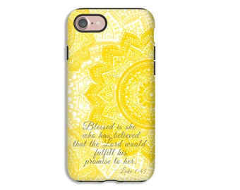 Christian phone case, Luke 1:45 iPhone case, iPhone 7 case, bible verse iPhone case, scripture iPhone case, Christian Galaxy S8 case