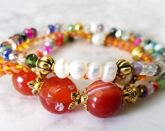 Set of Three Carnelian, Crystal and Freshwater Pearl Bracelets