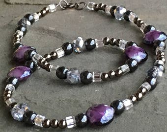 Purple and Gunmetal Beaded Necklace