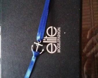 Anchor and Blue Ribbon Bracelet