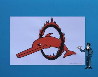 Dolphin - 2 Color Screenprint