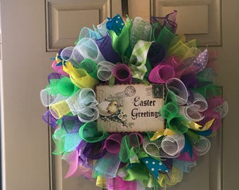 Easter Greetings Deco Mesh Ribbon Wreath/Multicolored