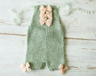 Newborn romper, mohair romper, knit newborn romper, baby girl romper