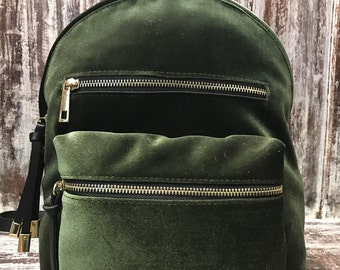 Backpack velvet and leather