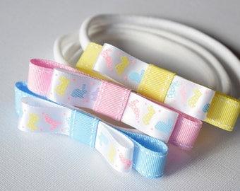 Easter Ribbon Hair Bow / Pastel hair bow / Baby headband / hairband / Bunny ribbon / Hair Accessory