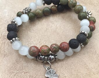 Double Wrap Aromatherapy , Diffuser,  Lava Bead , Essential Oil Bracelet
